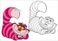 Чеширский кот раскраска