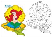 Раскраска русалочка Ариель | Скачать бесплатно