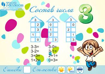 Математические раскраски состав числа